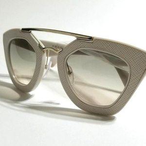 Brand New Prada Ivory White Gold  Leather Texture